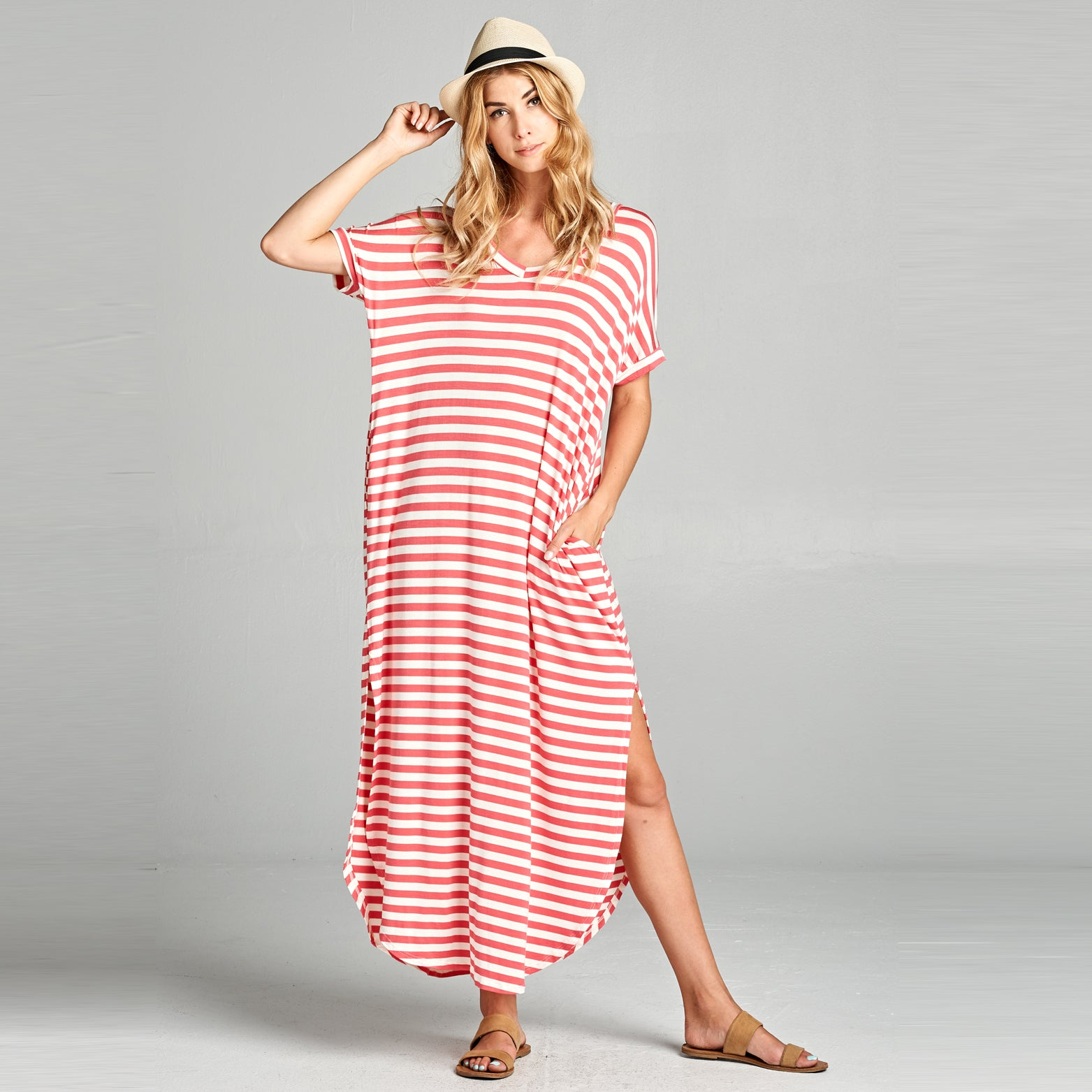 Coral White Striped Maxi Dress