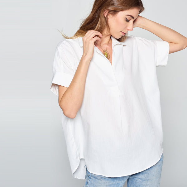 White Button-Back Cotton Shirt