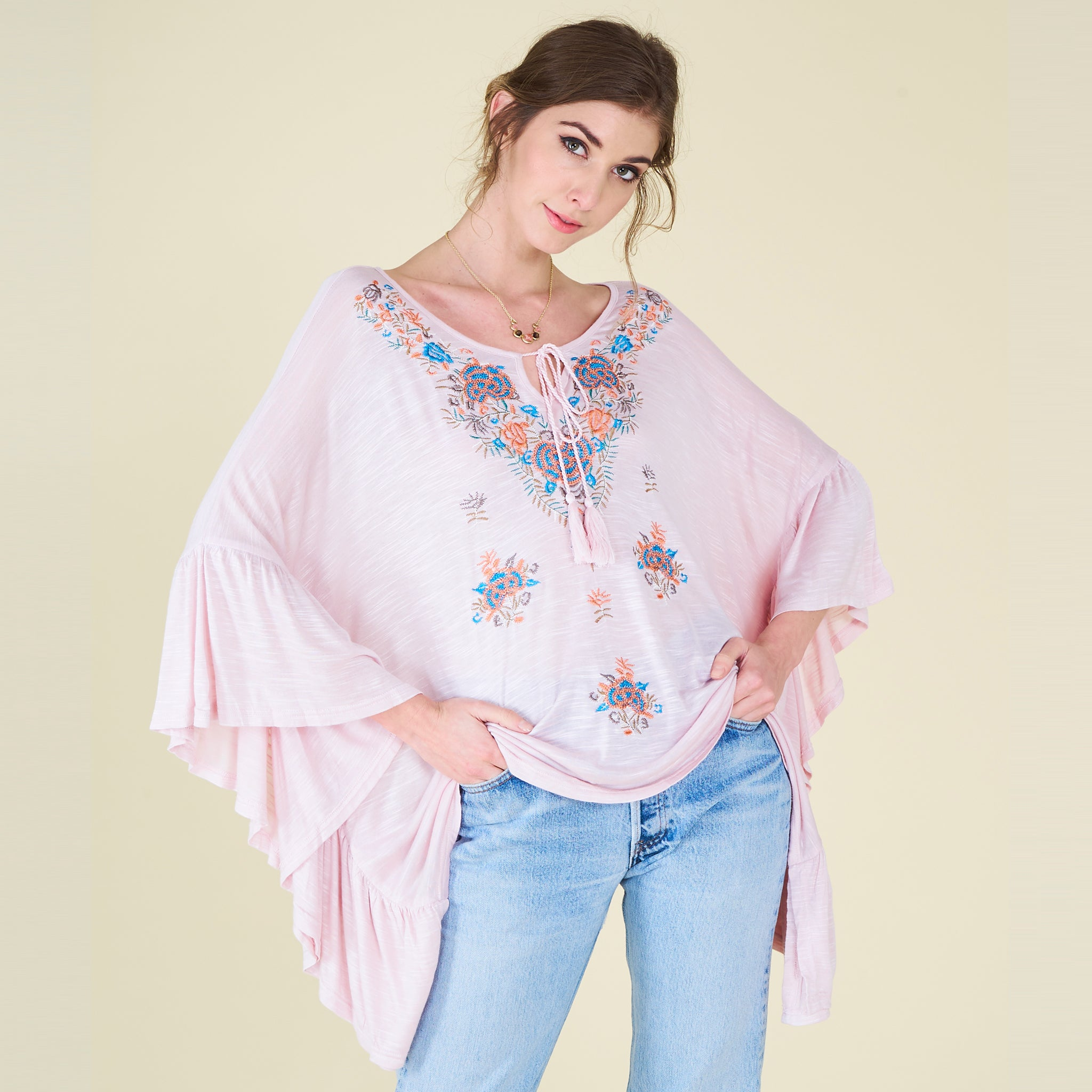 Embroidered Waterfall Melange Poncho - Love, Kuza