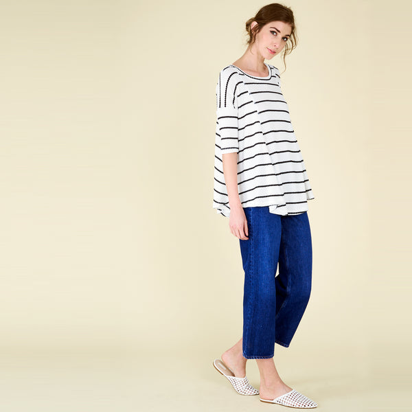Casual Thermal Stripe Swing Top