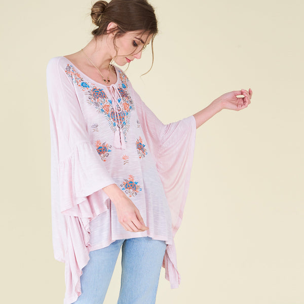Embroidered Waterfall Melange Poncho