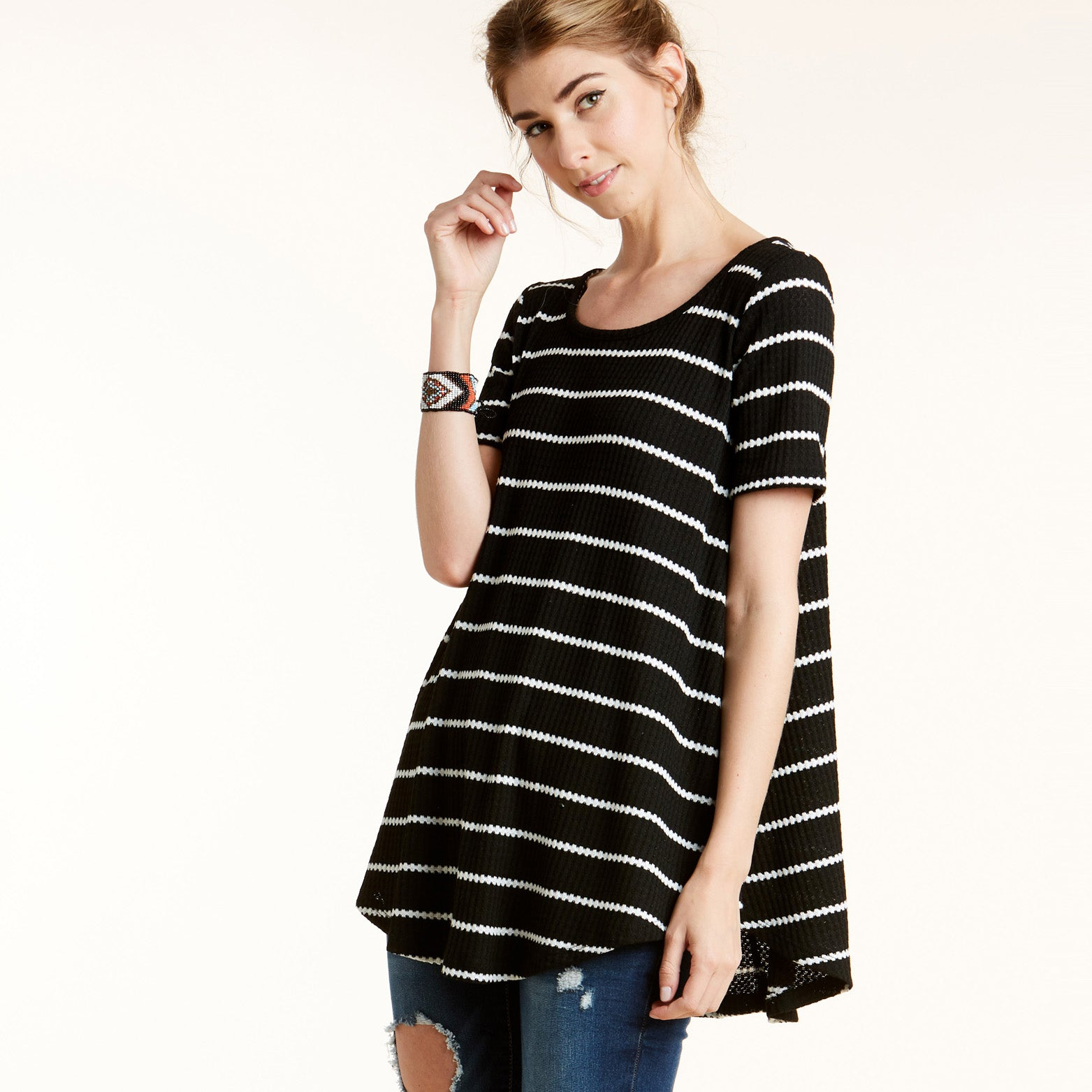 Totter Stripe Waffle Knit Top