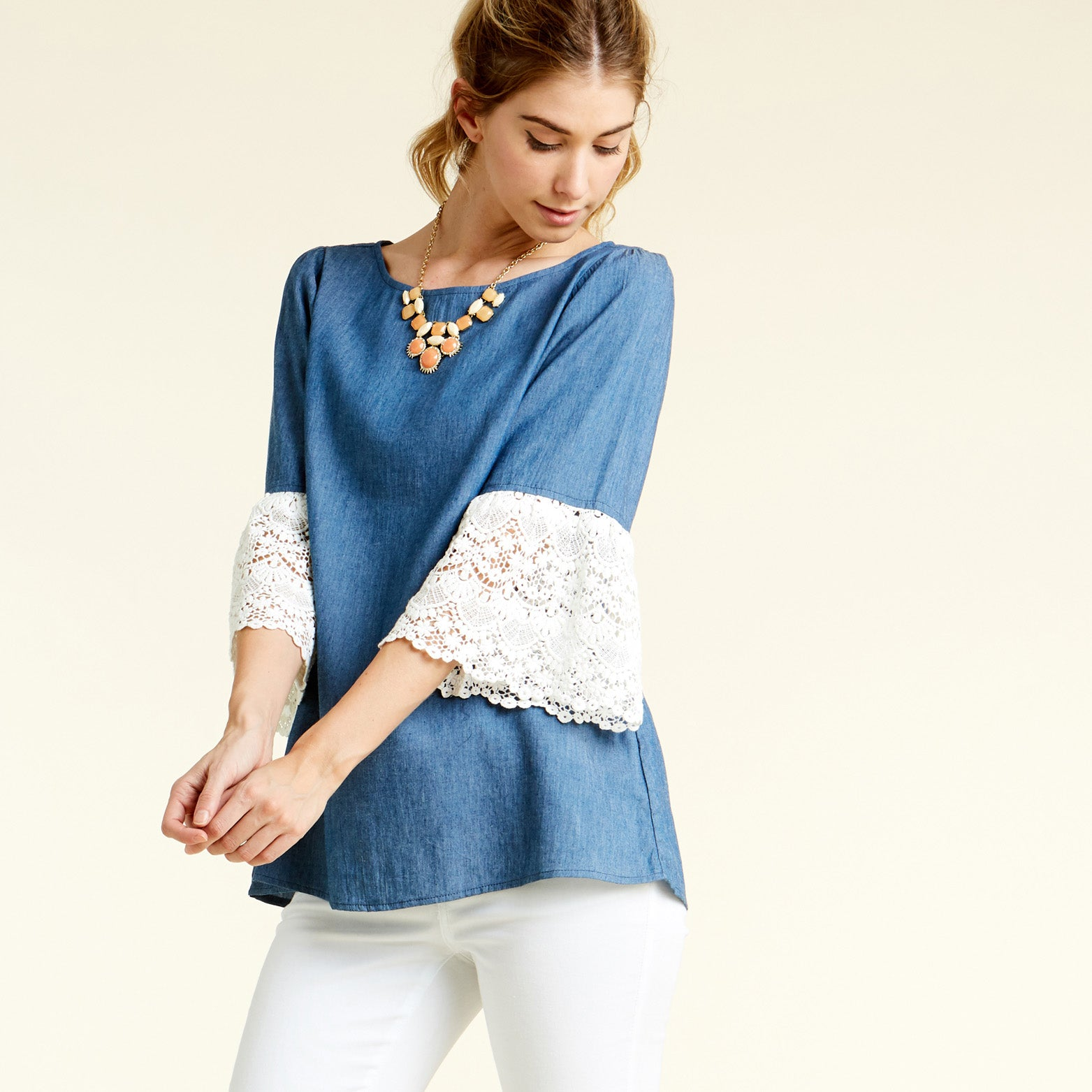 Pompous Crochet Sleeve Blouse - Love, Kuza