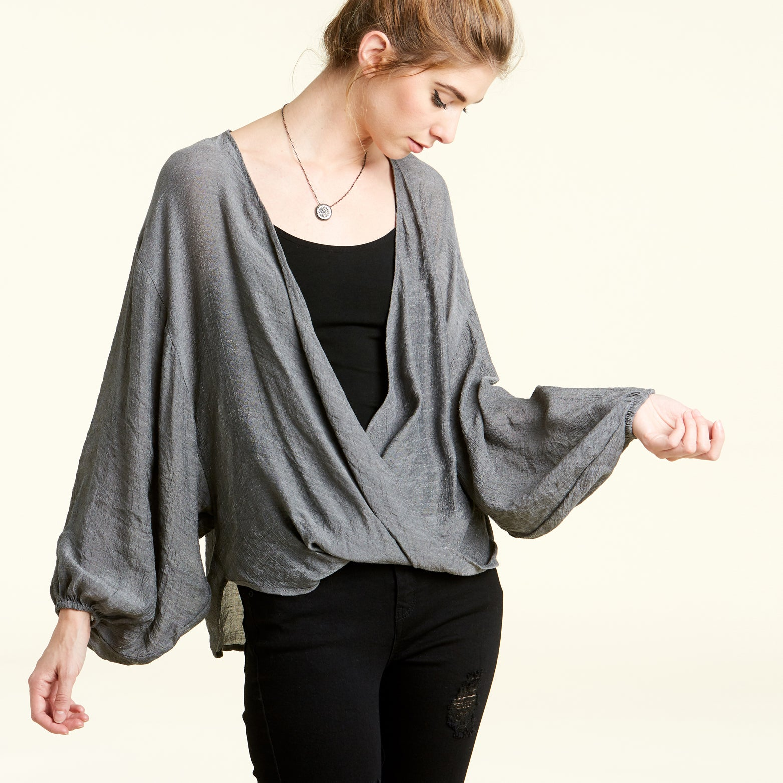 Balloon Sleeve Crossover Blouse