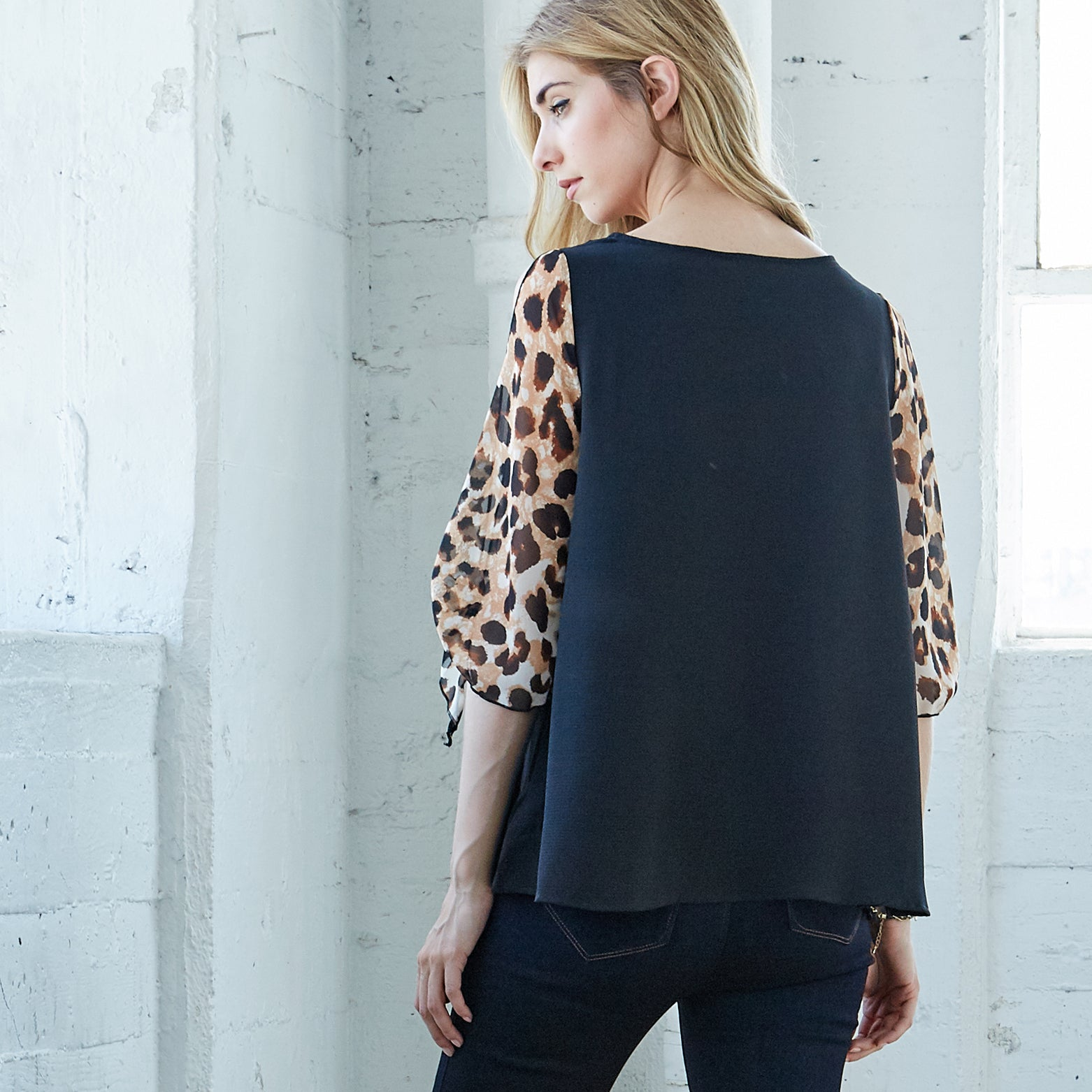 Open Sleeve Animal Print Top - Love, Kuza