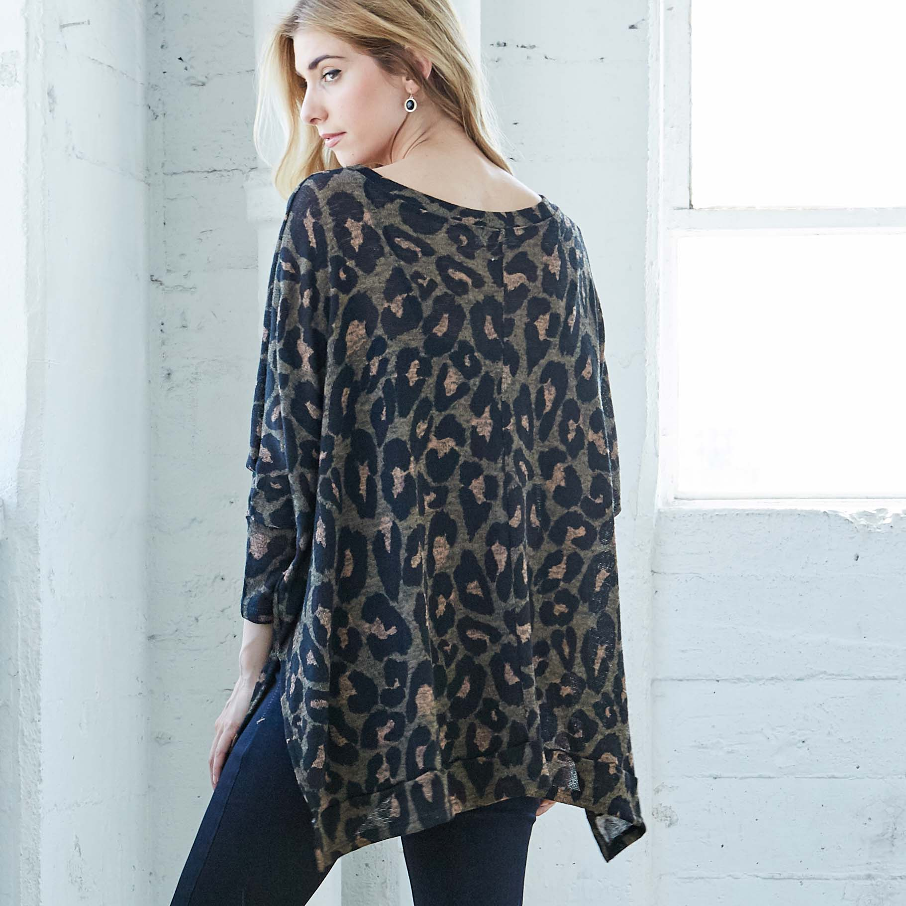 Animal Print Dolman Sweater - Love, Kuza
