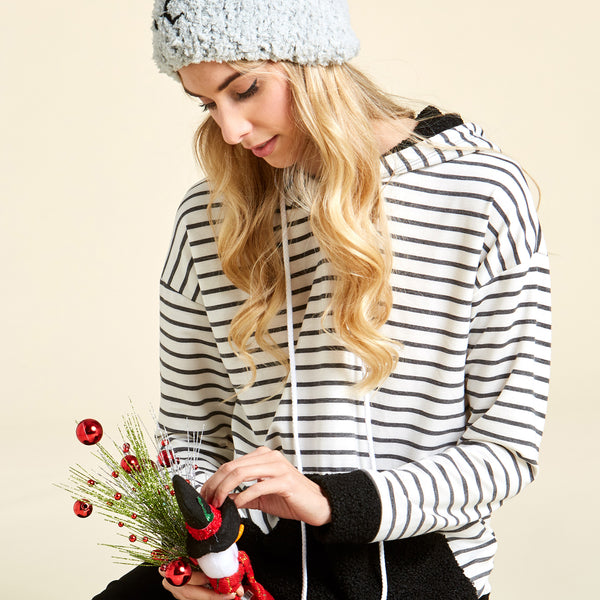 Stripe Hoodie With Popcorm Puff