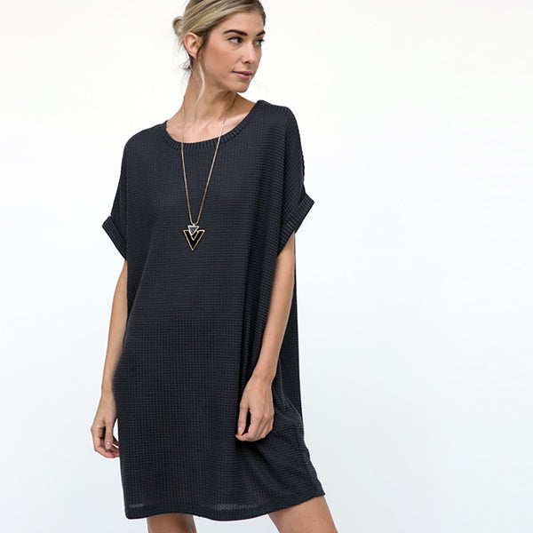 Textured Waffle Tnic Dress
