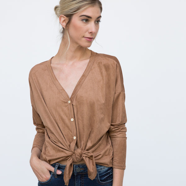 Suede Caramel Button Down Shirt