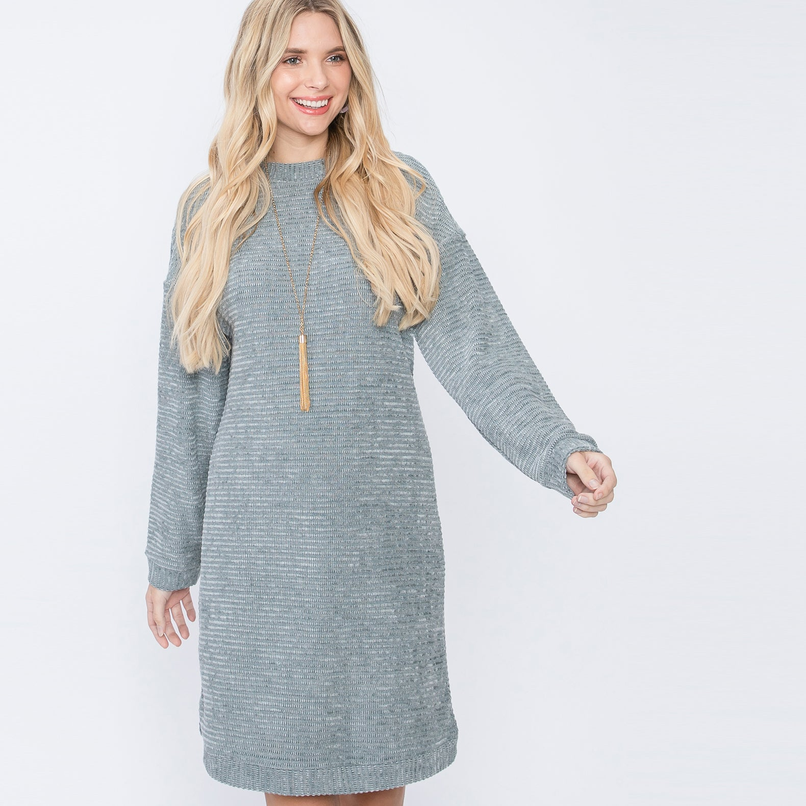 Chenille Knit Sweater Dress