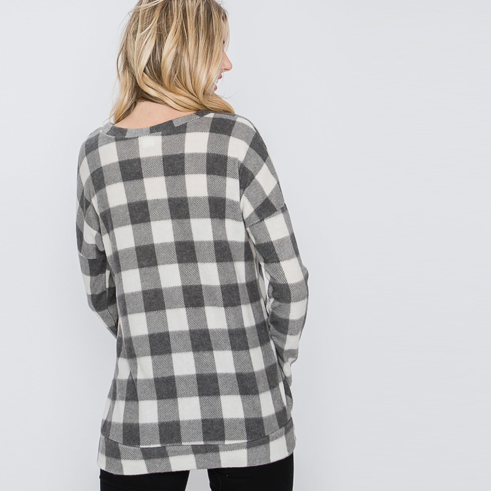 Ultra Soft Buffalo Plaid Sweater Top