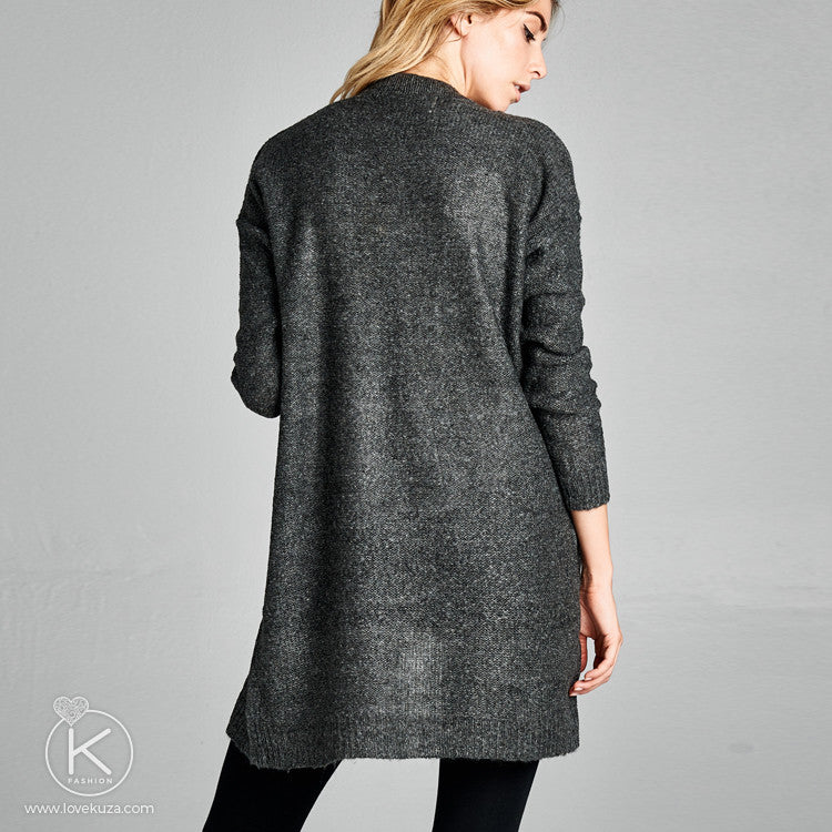 Midi Sweater Cardigan with Pockets