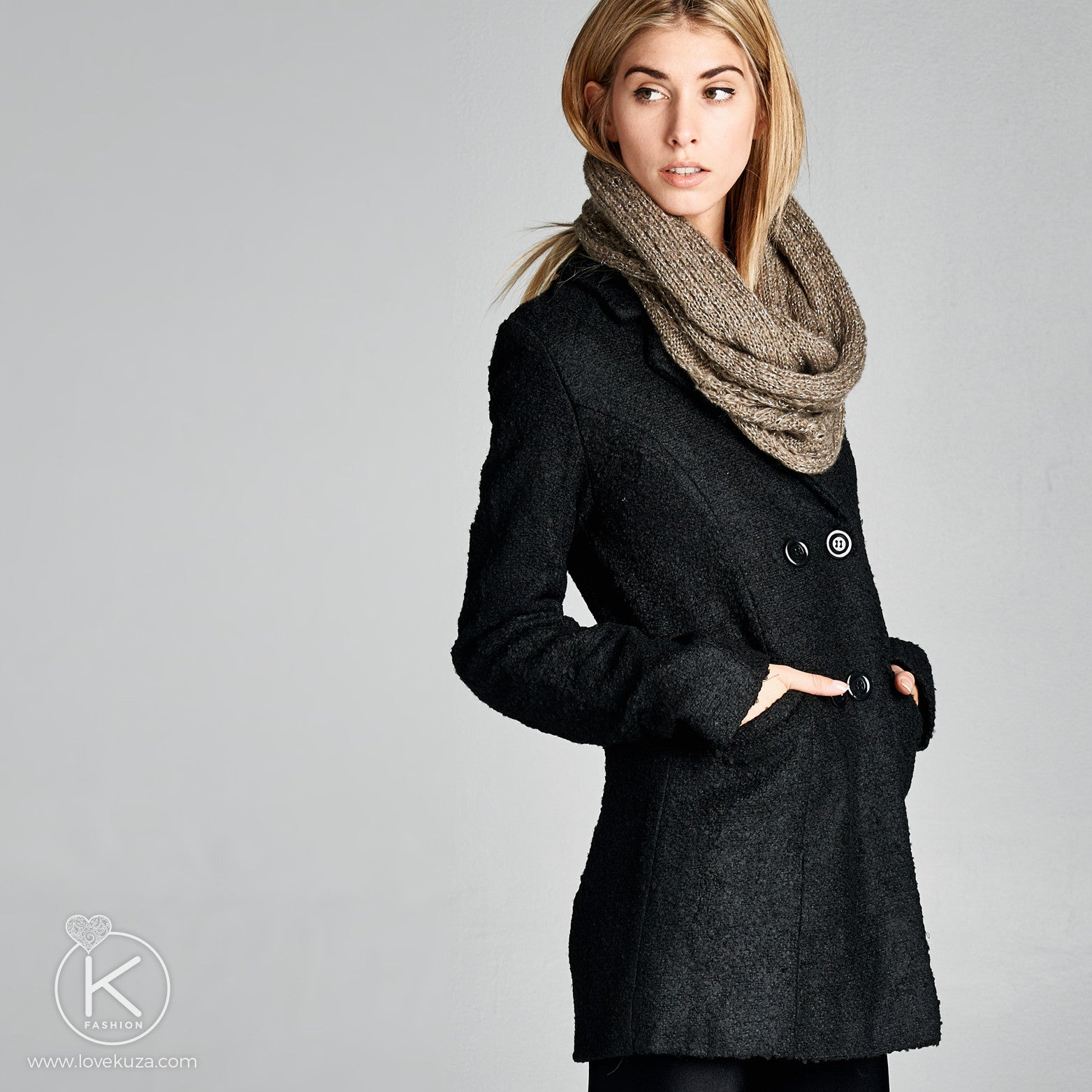 Classic Double-Breasted Peacoat - Love, Kuza