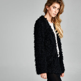 Collarless Faux Fur Coat with Pockets