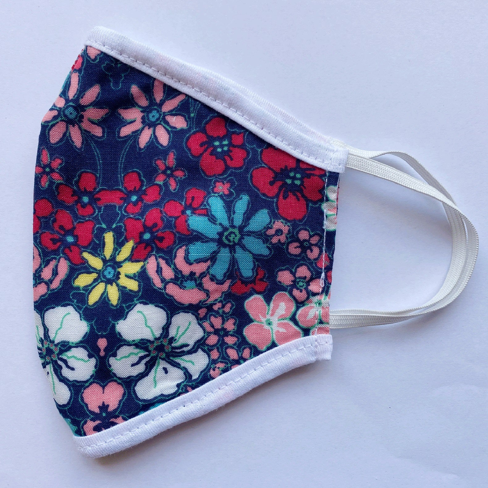 Floral Print 3 Layer Woven/Cotton Mask