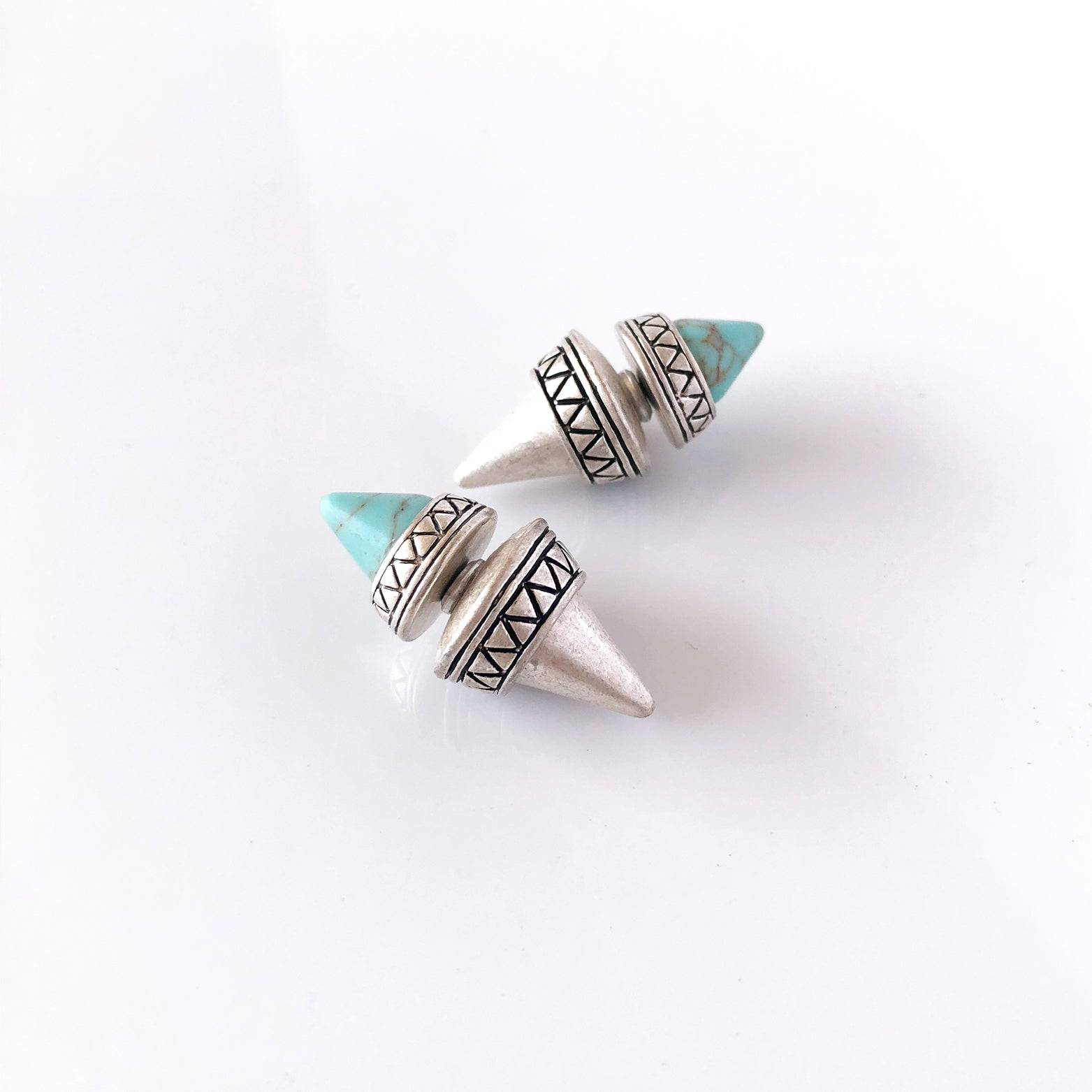 Tribal Cone Double Stud Earrings - Love, Kuza