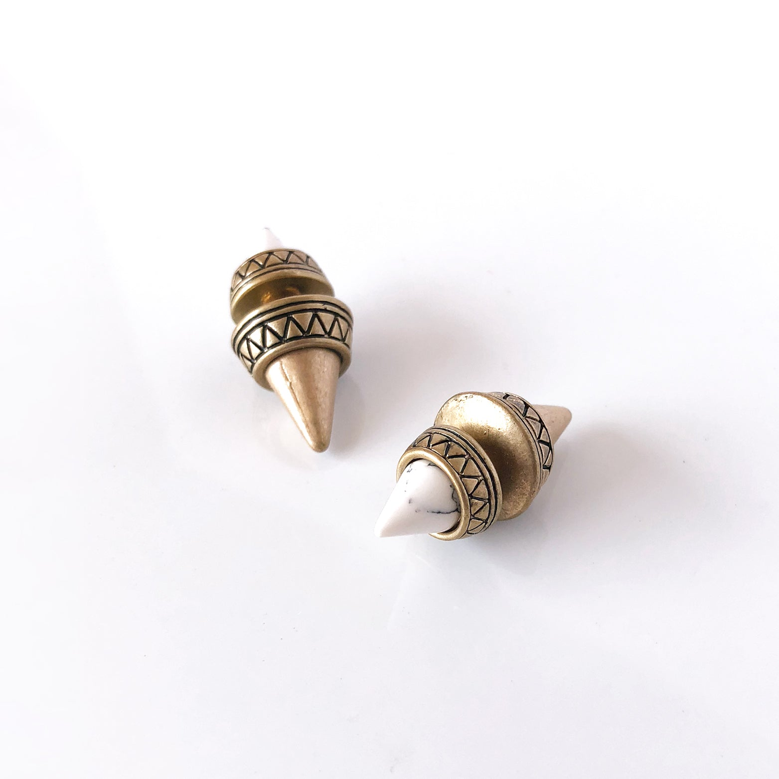 Tribal Cone Double Stud Earrings