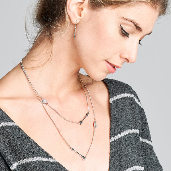 Heart & Arrow Layered Necklace - Love, Kuza