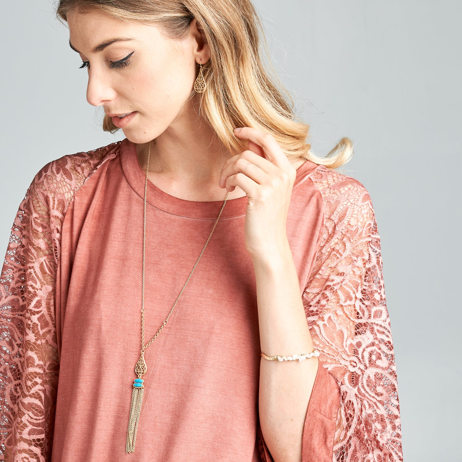 Filigree Teardrop Tassel Necklace