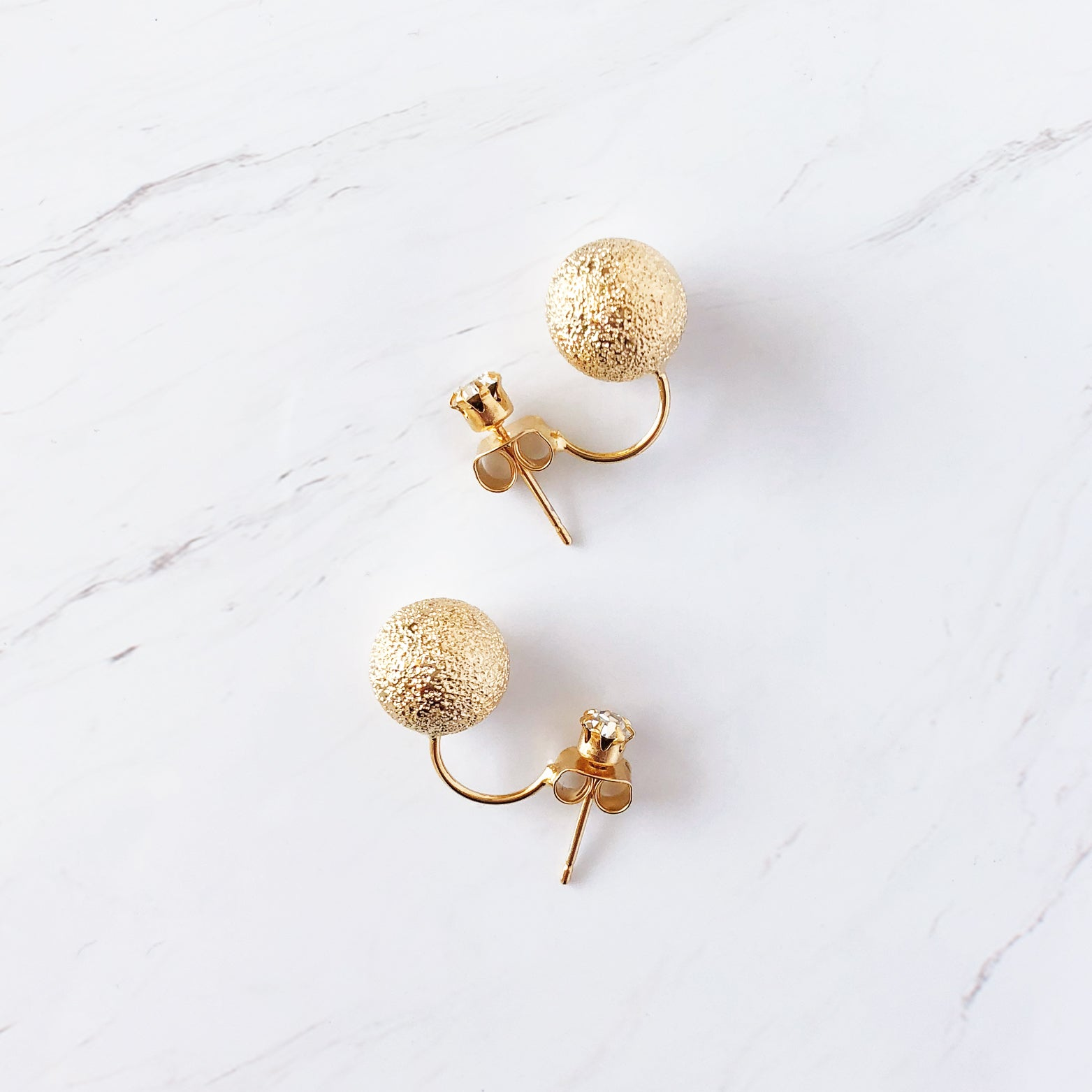 Sandblasted Gold Stud Earrings