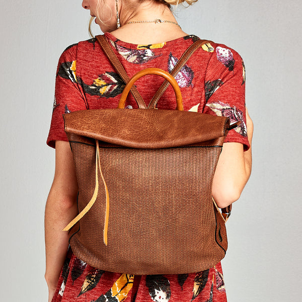 Foldover Leather Backpack - Love, Kuza