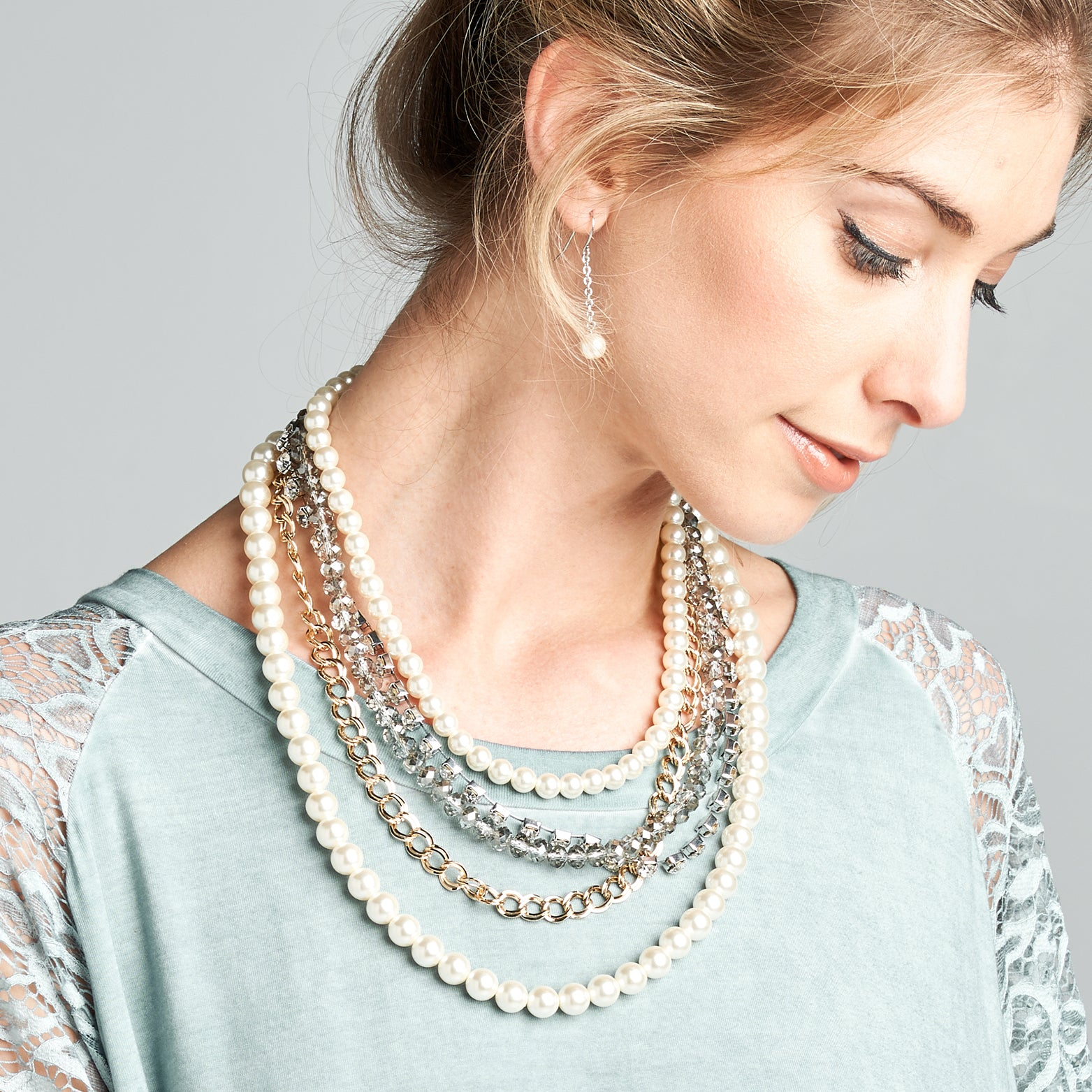Mixed Layered Necklace - Love, Kuza