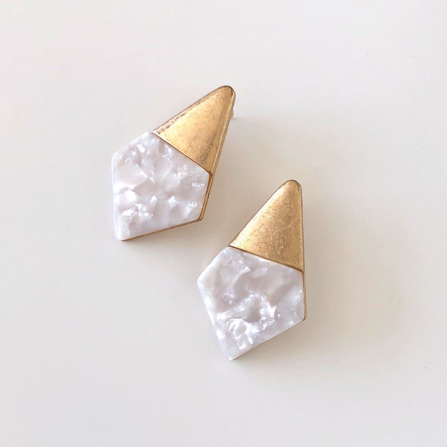 Geo White Acetate Earrings