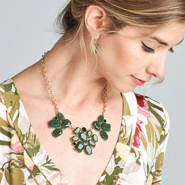 Floral Geo Statement Necklace - Love, Kuza