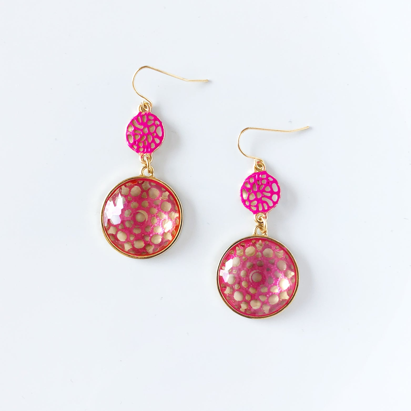 Magenta Gold Metal Lace Earrings