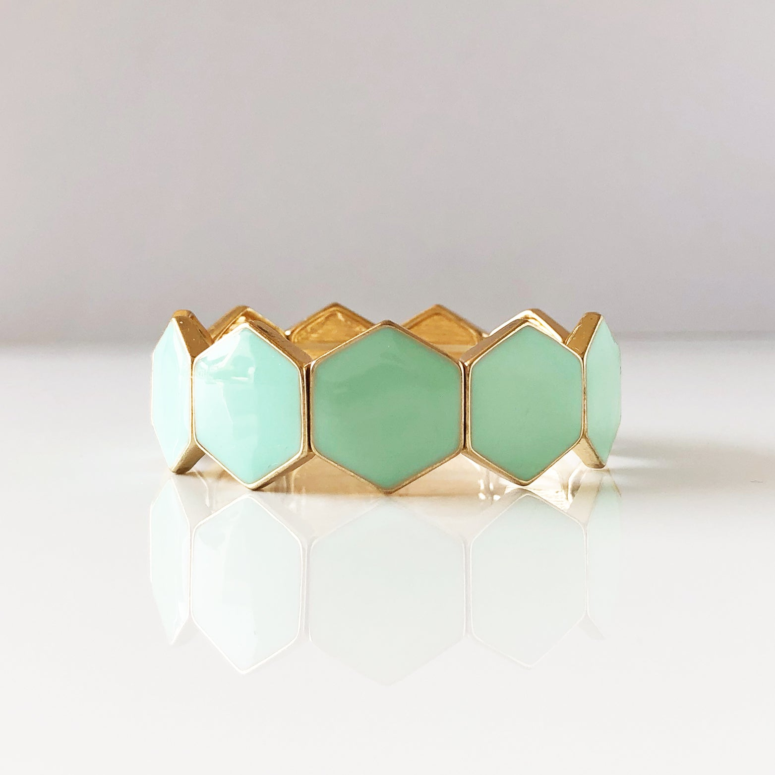 Retro Green Hexagon Bracelet