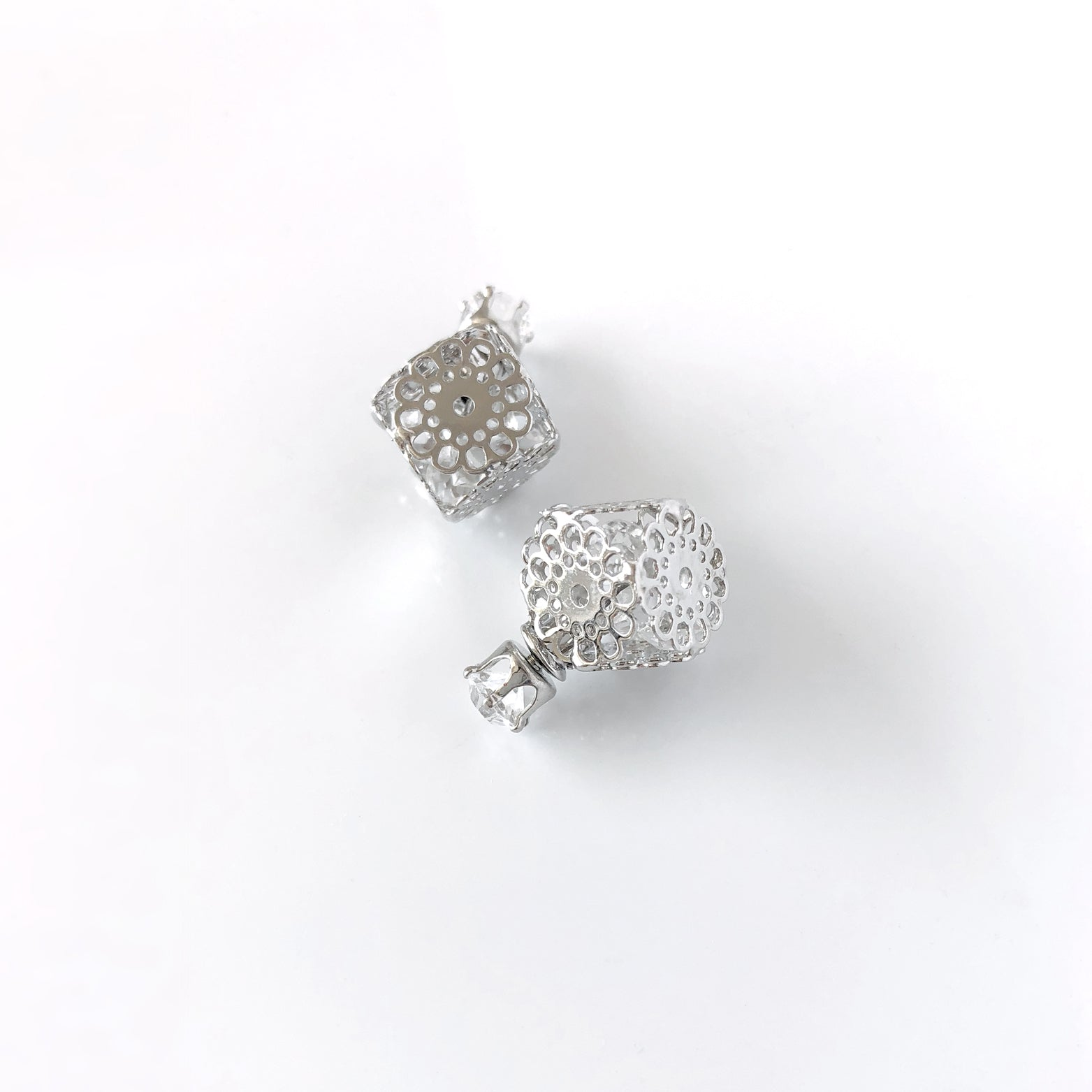 Filigree Cube Stud Earrings