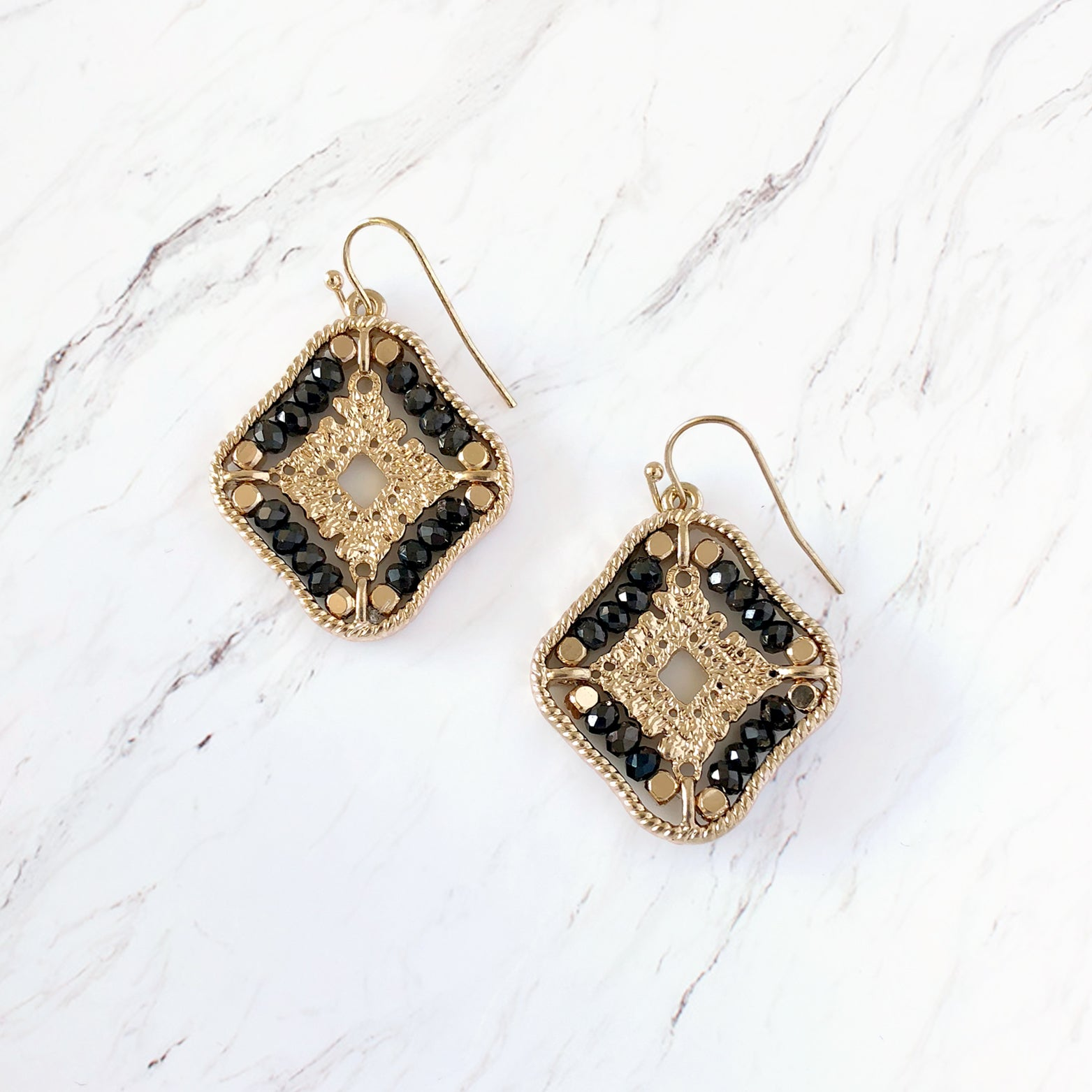 Tribal Quatrefoil Drop Earrings
