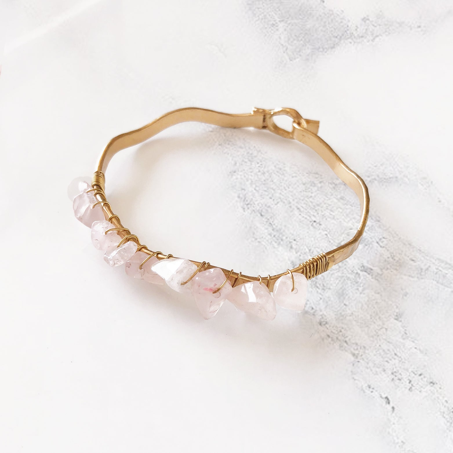 Natural Gemstone Hammered Bangle - Love, Kuza