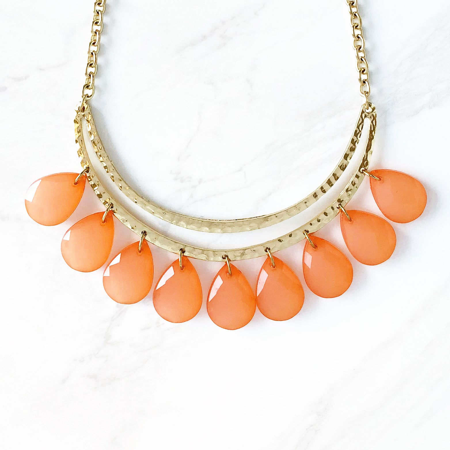 Orange Drops Hammered Necklace - Love, Kuza
