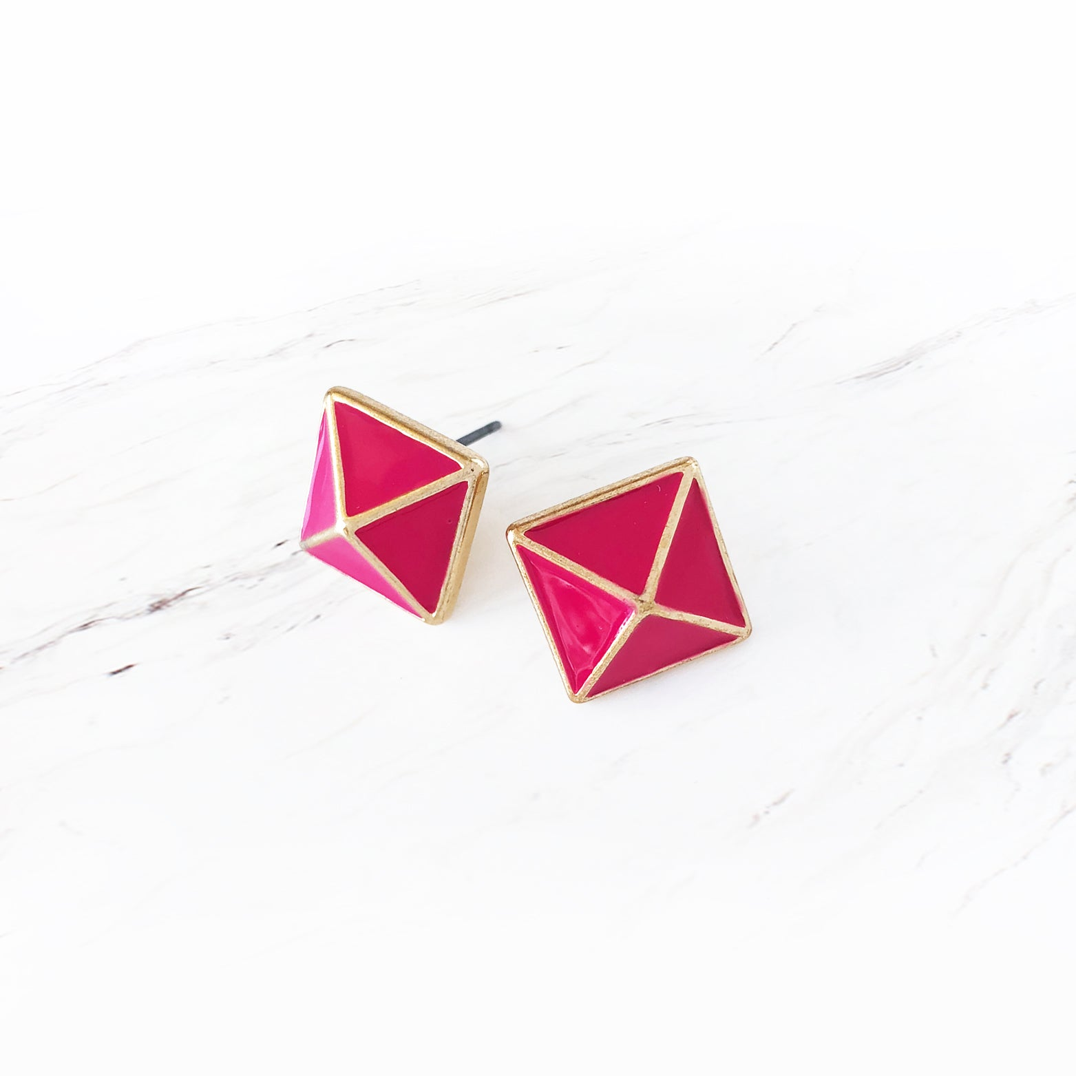 Pyramid Stud Earrings - Love, Kuza