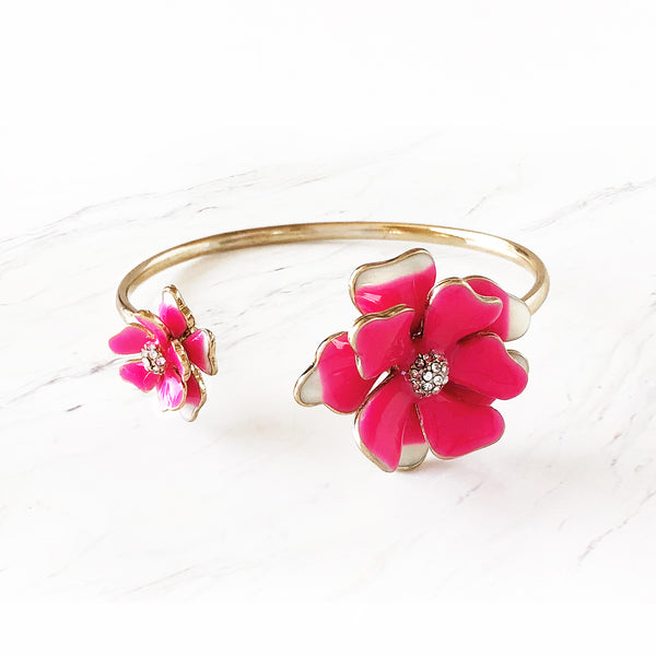 Crystal Duo Flower Cuff