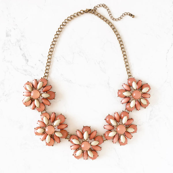 Art Deco Daisy Link Statement Necklace - Love, Kuza