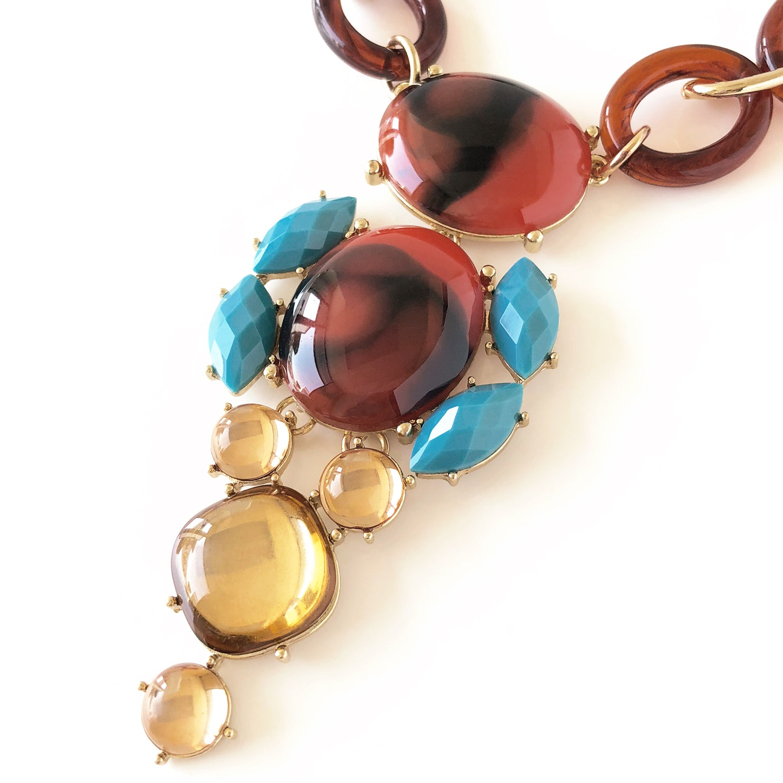 Retro Geo Statement Necklace - Love, Kuza