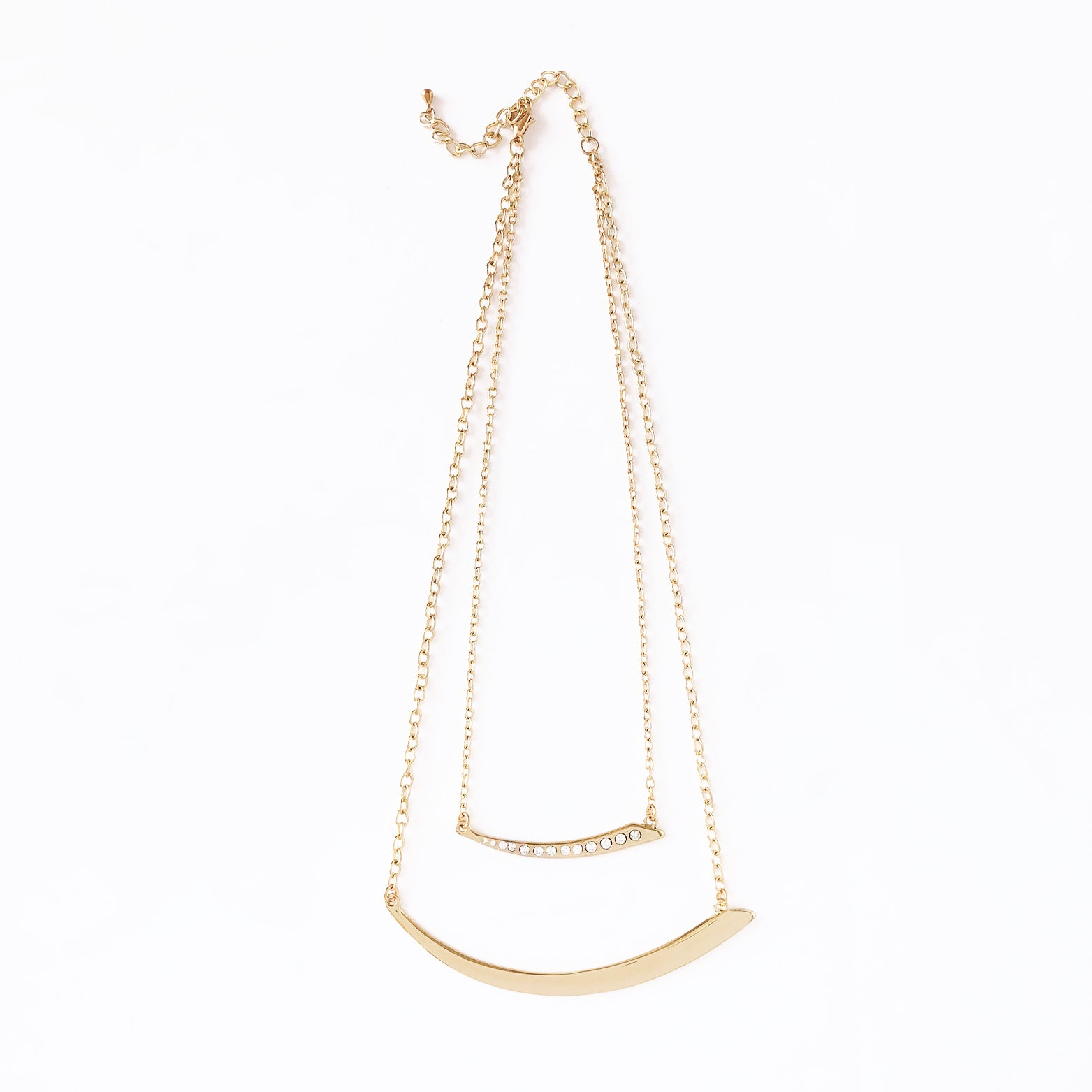 Asymmetrical Crystal Bar Necklace