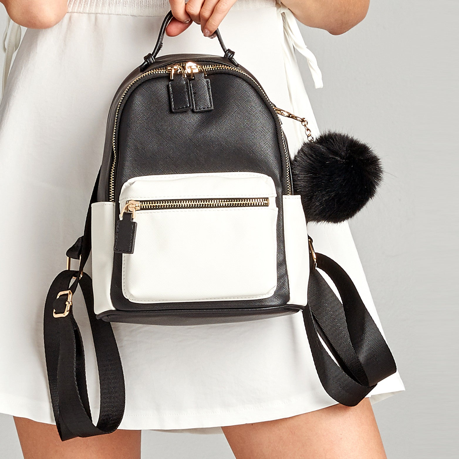 B&W Faux Leather Backpack