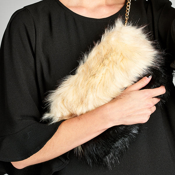 Two-Tone Faux Fur Purse - Love, Kuza