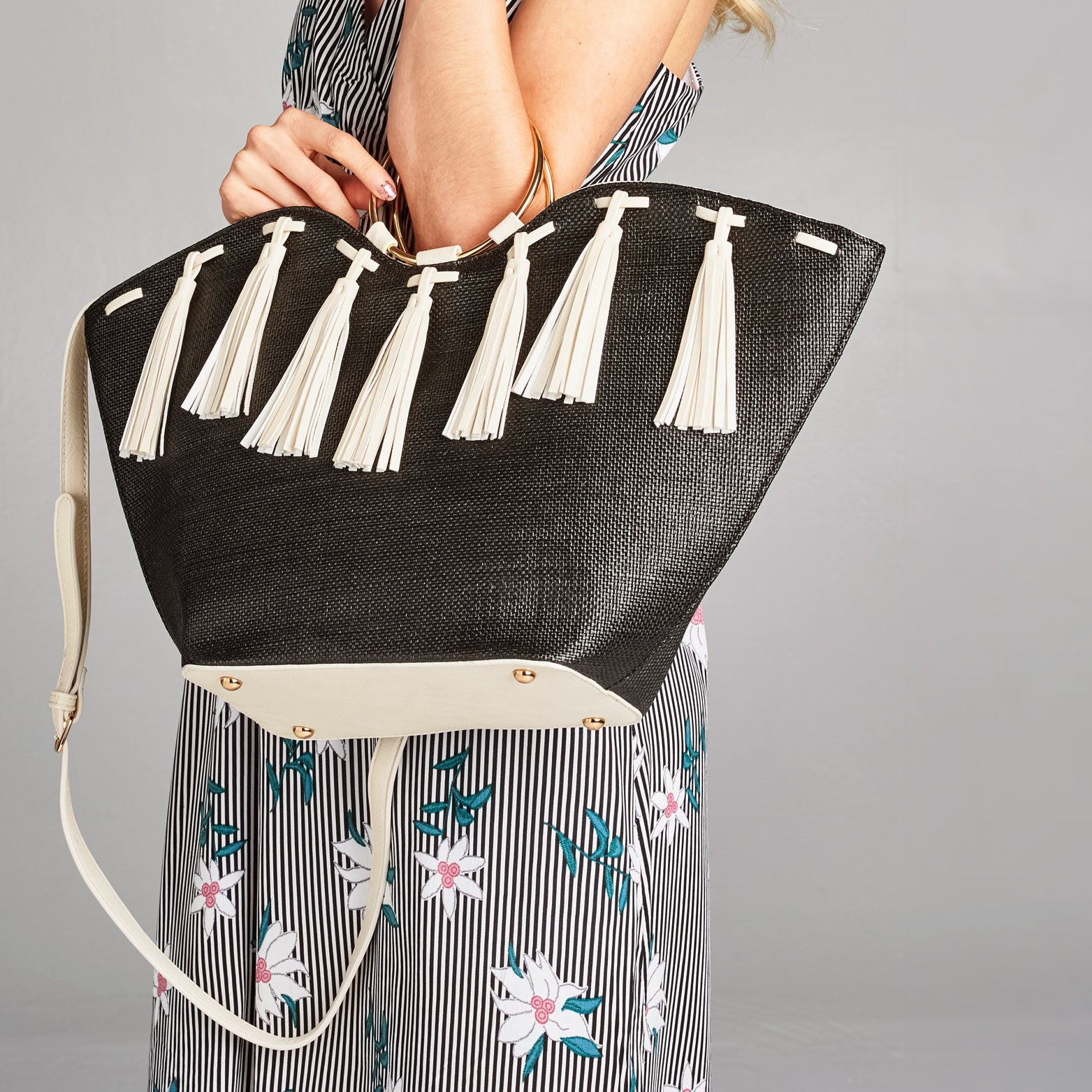 Leather Tassel Straw Tote