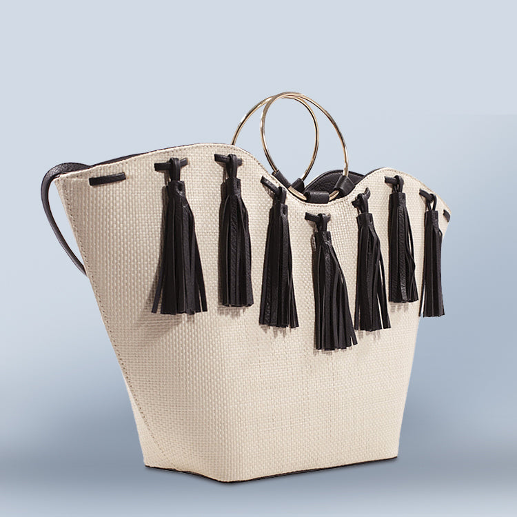 Leather Tassel Straw Tote - Love, Kuza