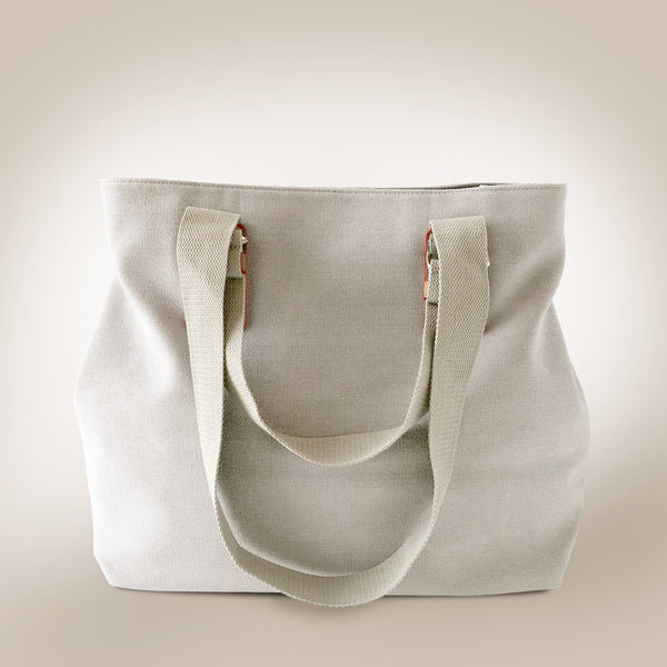 Fold Button Large Canvas Bag - Love, Kuza