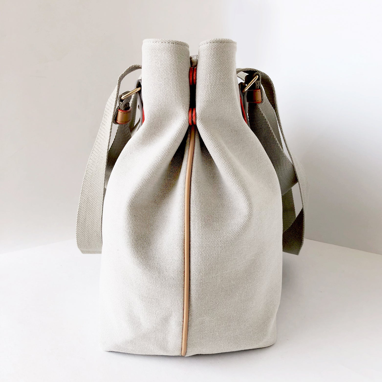 Fold Button Large Canvas Bag