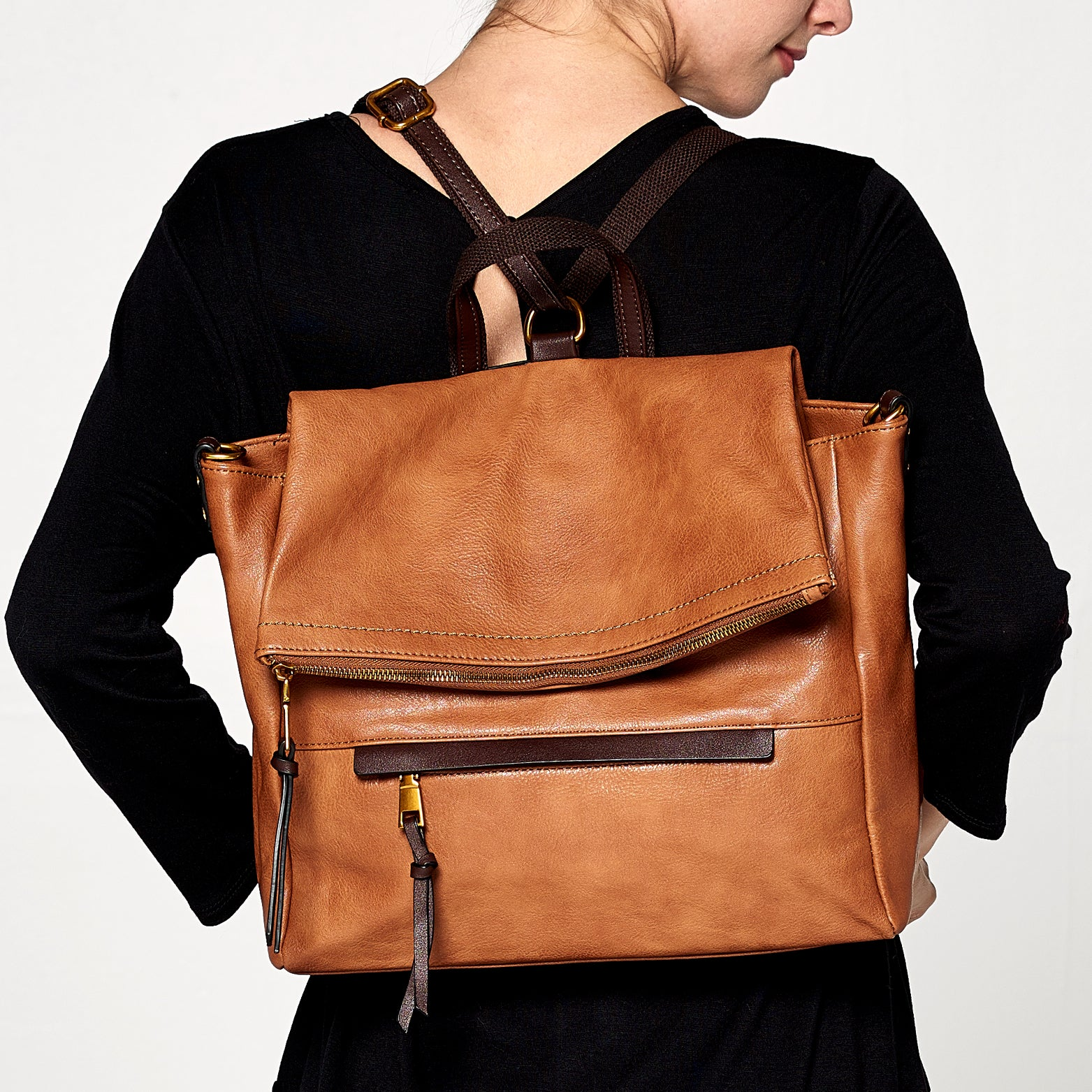 Envelope Fold Leather Backpack