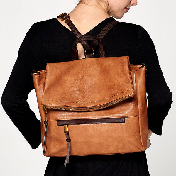 Envelope Fold Leather Backpack - Love, Kuza