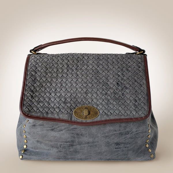 Woven Fold Large Leather Bag