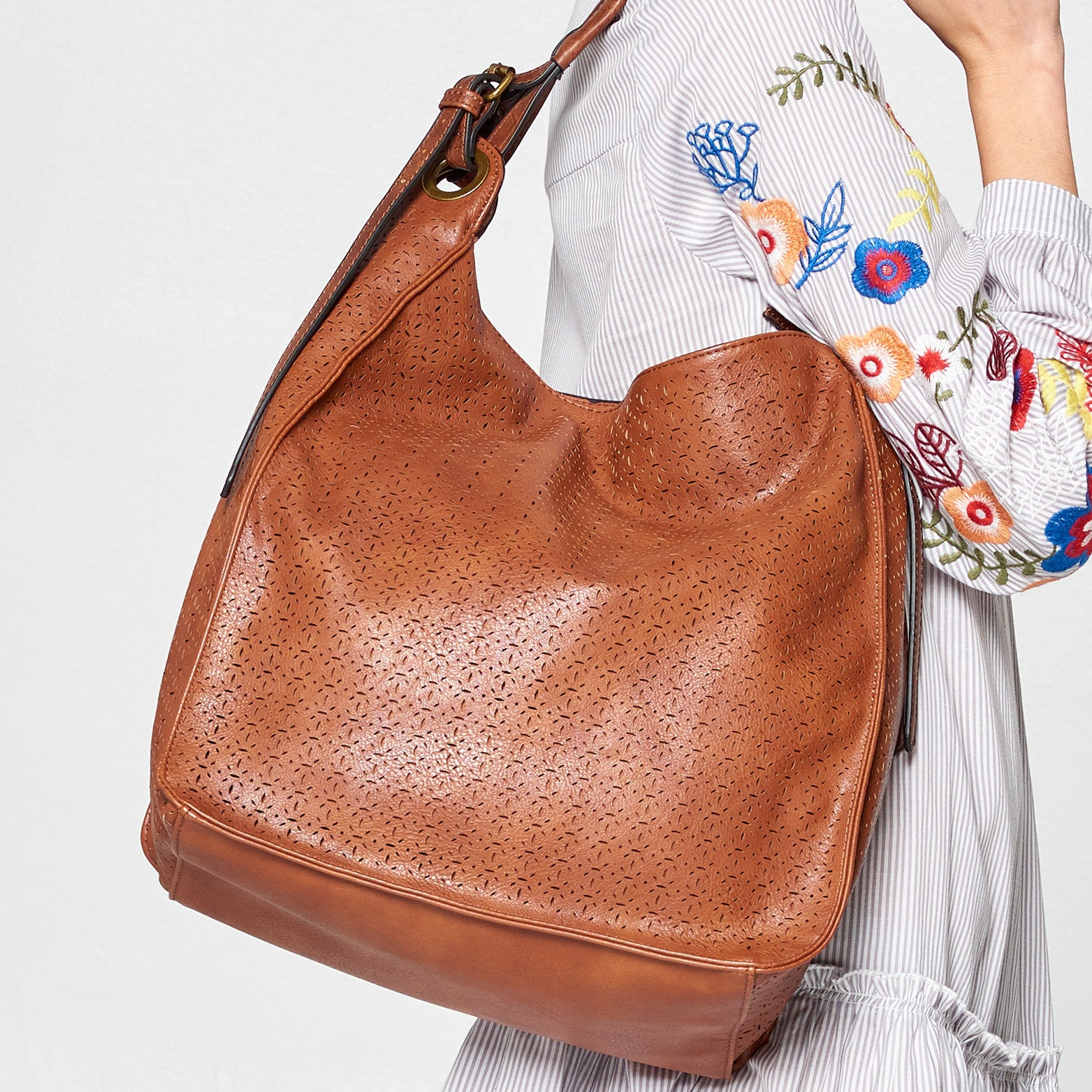 Laser Cut Leather Large Hobo
