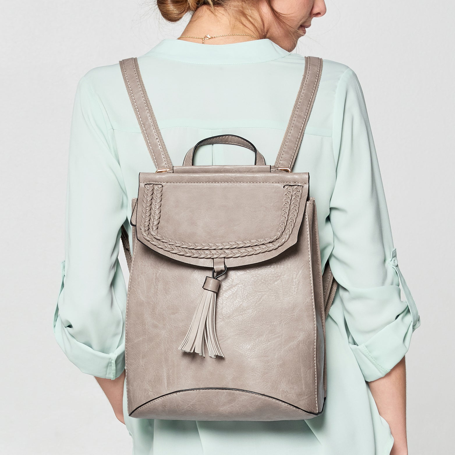 Tassel Fold Leather Backpack